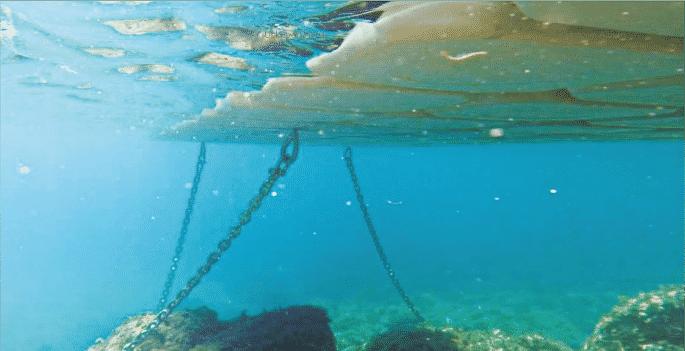 ancoraggio pontile galleggiante mare aperto catenaria incrociata